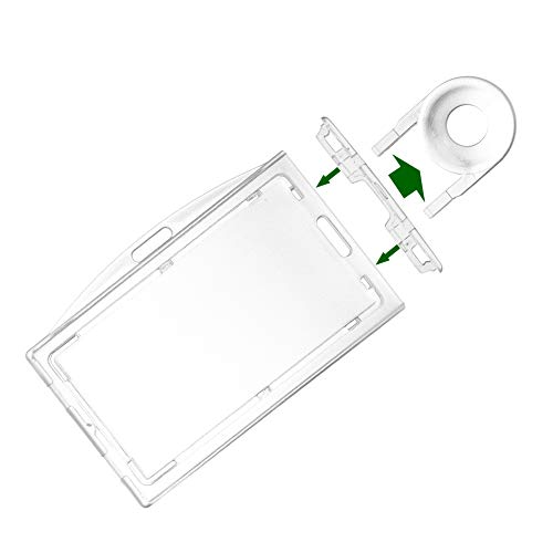 4 Pack Clear Hard Plastic Locking Id Badge Holder Horizontal and Vertical Dual-Use Hold 3 Card by Fallen One