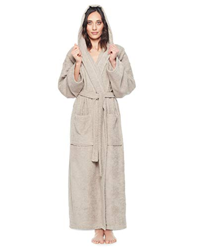 Arus - Albornoz clásico con capucha para mujer, Latte, S-M