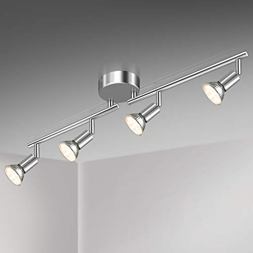 Unicozin Lámpara de Techo LED 4 Focos Ajustables y Giratorios, incl. 4 X Bombillas GU10 3.5W 380LM Blanco Cálido, Cromo para dormitorio habitacion salon cocina