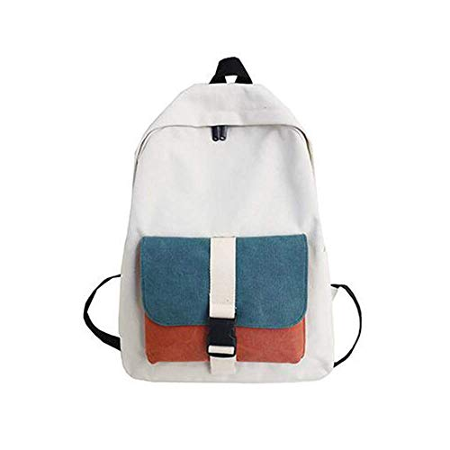 DHTOMC Backpack female male, travel student sports backpack light comfortable large capacity wild casual zipper green blue canvas backpack Xping (Color : Green)