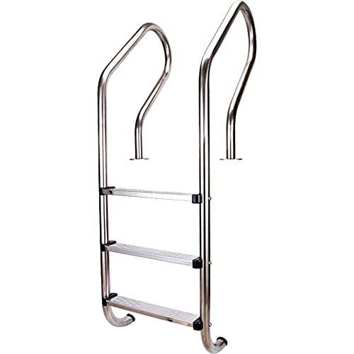 Escalera mecánica para piscina, escalera de barandilla de aguas termales de entrada de piscina subterránea de acero inoxidable 304, con 3 pedales antideslizantes,sin preinstalación/Plata