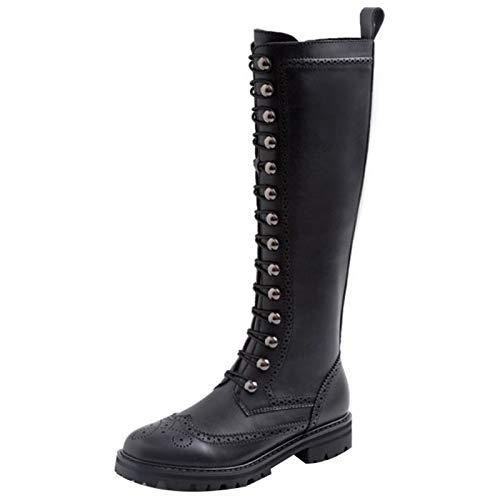 Shinelyf Moda Mujer Botas Largo Boots Ajustables hasta La Rodilla Cómodos Y Transpirables Elegante Fáciles De Poner con Cremallera Buena Elasticidad,Negro,39
