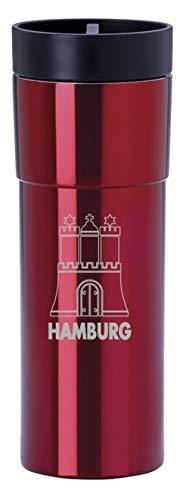 Thermobecher Isolierbecher 450ml Kaffeebecher to go Reisebecher Coffee to go Becher mit Motiv Hamburg Wappen Rot