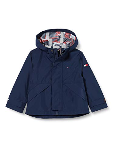 Tommy Hilfiger Hooded Tech Coat Abrigo, Azul (Blue Cbk), (Talla del Fabricante: 74) para Niños