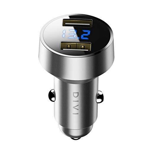 Caricabatteria auto USB, 4.8A Caricatore adattatore universale 2 Porte con voltmetro digitale a LED (Materiale in lega di alluminio) per...