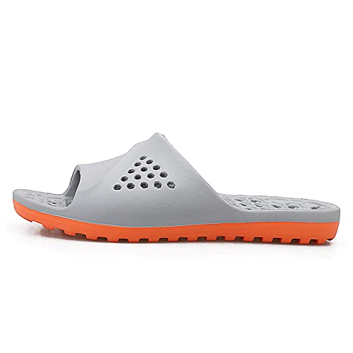 JFHZC Zapatos de Piscina,Zapatillas de Secado rápido con Fugas de EVA de Punta Abierta para Hombres, Zapatos de Playa y Piscina Unisex, Sandalias de Verano para el Ocio en el hogar-45EU_Gray_Orange