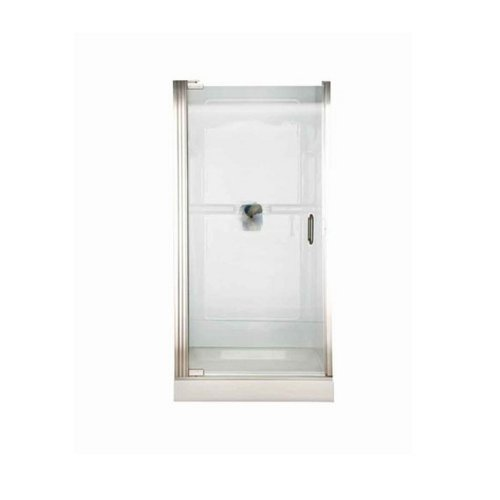 American Standard AM0301D400.213 Euro Frameless Hinge Shower Doors with D Style handle and Clear Glass, Silver Shine