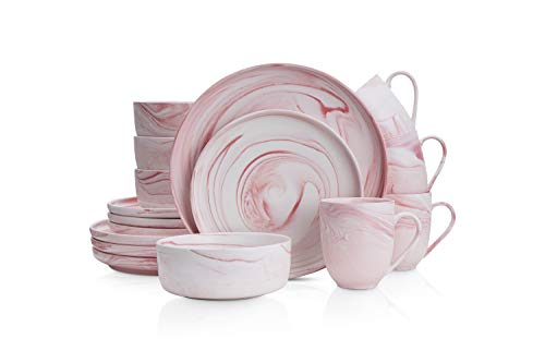 Stone Lain Marble Fine China Dinnerware Set, 16 Piece Service for 4, Matte Pink
