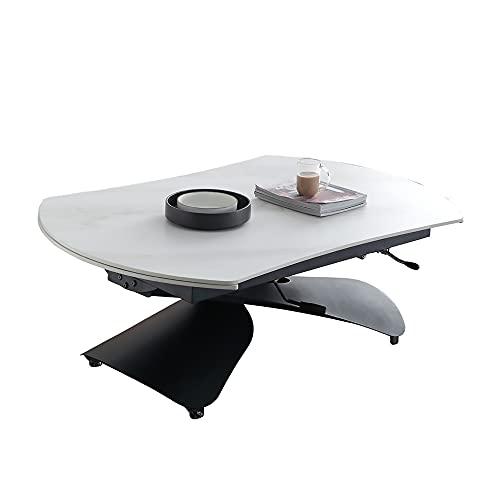 NJMK Mesa De Comedor Elevable Mesa De Comedor De Tablero De Roca Multifuncional Ajustable En Altura También Se Puede Usar como Mesa De Centro con Ruedas Libres para Moverse,120cm