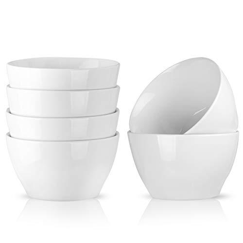 Porcelain Cereal Bowl Salad Bowl Soup Bowl Rice Bowl Dessert Baking Cup, 5.35 inch, 6pc Set, White