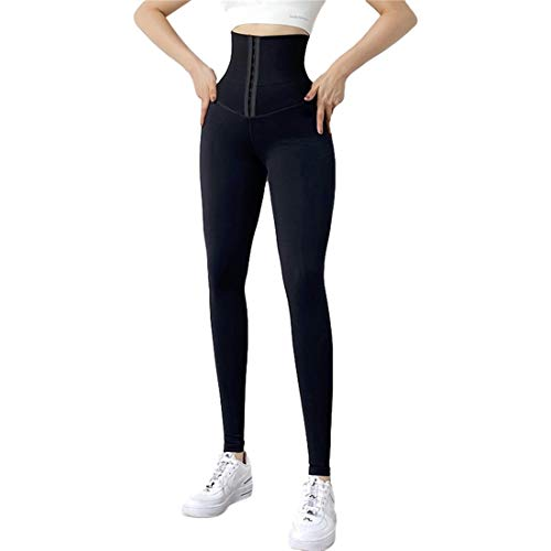 Frauen High Waist Yoga Hose Korsett Belly Control Leggings Feste elastische Hüfthose Strumpfhose Anti Cellulite zum Laufen (Black, L)