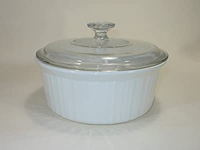"""Vintage Corning Ware FRENCH WHITE pattern 9"""" inch ROUND SOUFFLE DISH 2.5 LITRE / 2.6 QUART PYROCERAM GLASS – smooth bottom ALL WHITE BAKING CASSEROLE with PYREX CLEAR GLASS LID Mfg # F-1-B (F 1 B) F"""