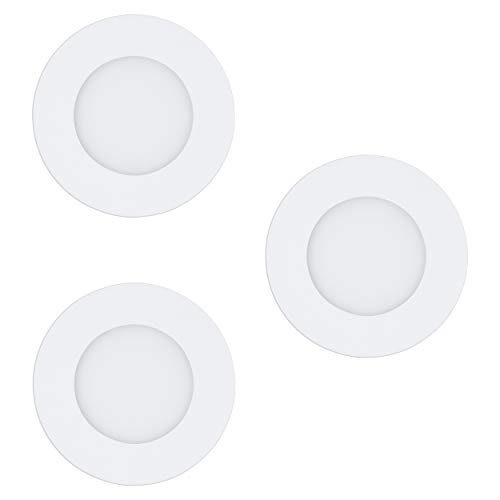 EGLO connect 3er-Set LED Einbauleuchten Fueva-C, Smart Home Einbaulampe, Material: Metallguss, Kunststoff, Farbe: Weiß, Ø: 8,5 cm, dimmbar, Weißtöne und Farben einstellbar