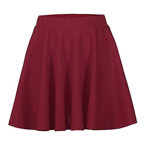 Falda básica versátil acampanada de color sólido casual mini patinador falda falda de lentejuelas vino rojo negro falda corta ⭐