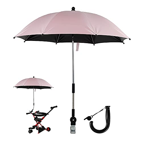 Baby Pram Umbrella Pink, Pram Parasol, Sun Protection Shade for Baby Carriage Umbrella Compatible UV Protection Pushchair Umbrella, Pram Umbrella for Pram, Stroller, Pushchair and Buggy (Pink)