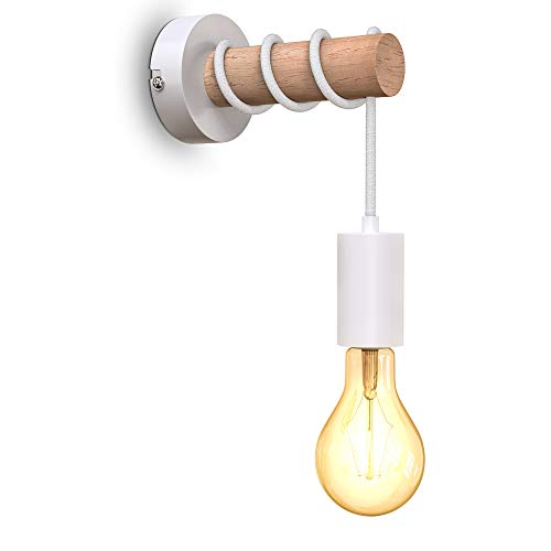 B.K.Licht Lampada da parete retrò in metallo e legno, lampadina E27 non inclusa, applique vintage, design industriale, ideale per ambienti rustici e moderni, bianco IP20