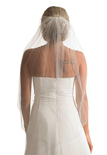 Schleier Brautschleier 1 Lage IVORY Creme 1-lagig Kurbelkante Swarovski Kristalle 80 cm Hochzeit Braut NEU Soft Tüll