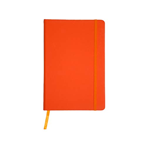 Projects Notizbuch A5 liniert Hardcover Gummiband Lesezeichen 'Business' orange | Bullet Journal Din A5 Buch 192 Seiten 80g/m² FSC Papier | Journal Notebook Paper A5 lined