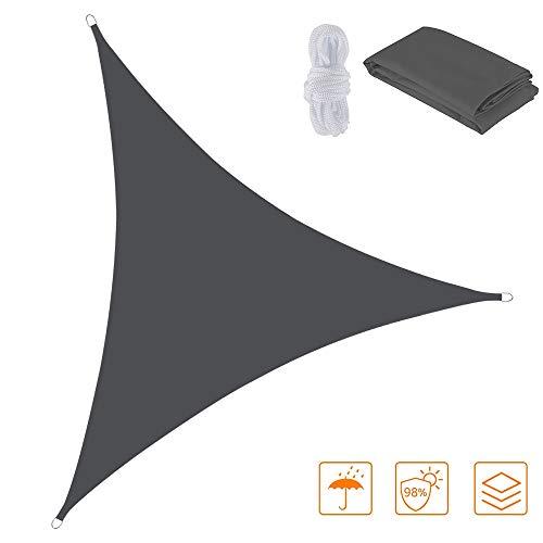 You's Auto Voile d'ombrage Triangulaire - Voile d'ombrage Triangle diffuseur d'Ombre Protection des Rayons UV et Tissu Imperméable,pour Extérieur/Terrasse/Jardin. (5 x 5 x 7,1m, Gris foncé)