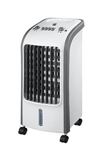 ZYBUX - Air Cooler Fan Portable, 4L Water Tank with Ice Boxes, High Cooling Efficiency, Anti Dust Filter, 3 Speed Setting with 180° Oscillation, Cooler Purifier on Wheels, White with Grey Trim