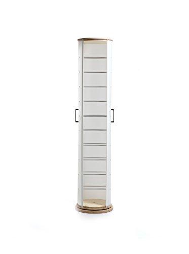 EMPORIUM Scarpiera in Polipropilene Bianco Perla con 11 Scomparti, Particolari in Alluminio anodizzato. Base e Top in Legno Naturale. Portata: 4 per ripiano