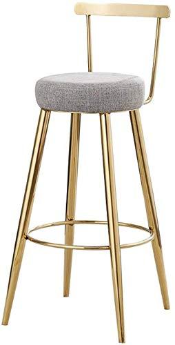 Barkruk met goudkleurige decoratie, poten van smeedijzer, creatieve barkruk, kruk, kruk, vrijetijdsstoel, goudkleurig, zithoogte 29,5 cm, grijs