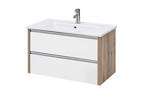 Schildmeyer Bello Waschtisch, Holzdekor, Weiß glanz/Wildeiche Dekor, 85 x 45,5 x 54,5 cm (B/T/H)