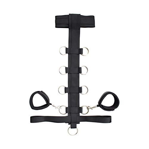 SUPVOX Cuello de gargantilla de cuero con esposas Restricciones debajo de la cama para mujeres 53x41x1cm