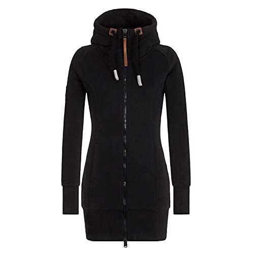 BIBOKAOKE Sudadera con capucha para mujer, con cremallera, larga, tallas grandes, con capucha, informal,...