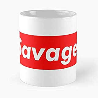 Sup-reme Box Logo - Savage Classic Mug The Funny Coffee Mugs For Halloween, Holiday, Christmas Party Decoration 11 Ounce White Atistar.