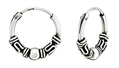Pendientes de aro hipoalergénicos de plata de ley de 12 mm estilo Bali/Tribal-Style para cartílago, oreja, nariz y labios (038216)