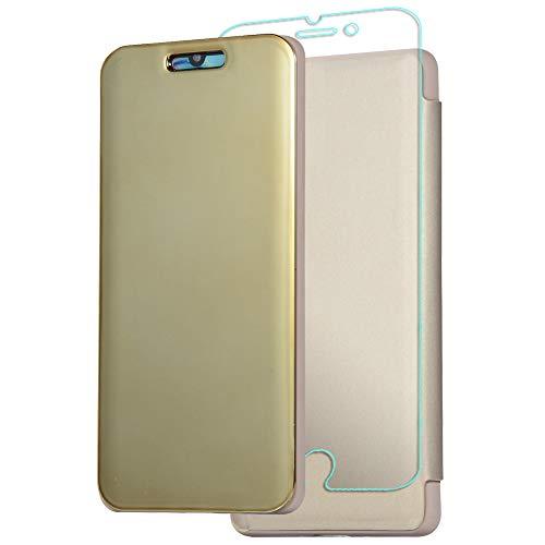 Capa Ffish para Huawei Mate 20 Pro, [Capa de silicone líquido] Capa flip com suporte transparente com [película de vidro temperado], dourada (nova geração)