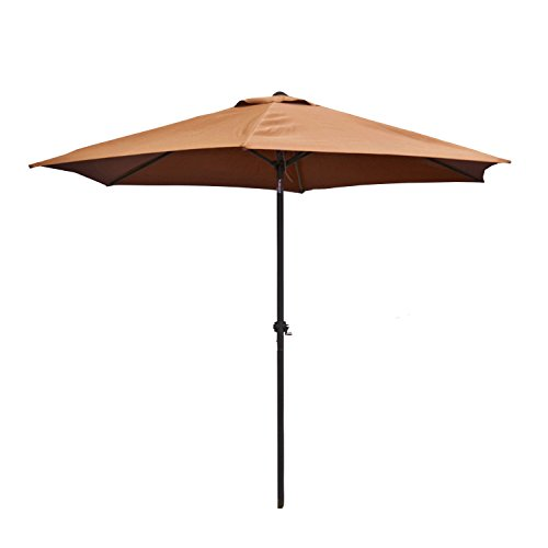 ALEKO UMB9FTTN Outdoor Patio Table Umbrella Waterproof Polyester with Tilt Adjustment 8 x 9 Feet Tan