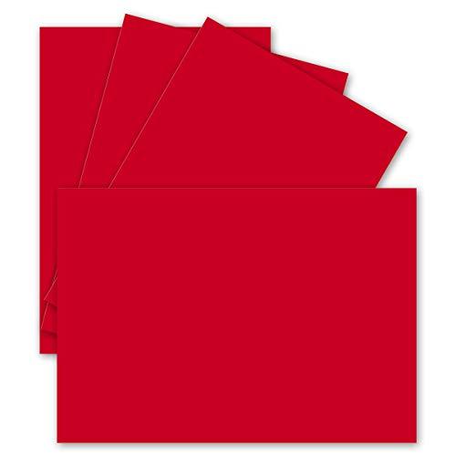 Enkele kaarten DIN A6-10,5 x 14,8 cm - 240 g/m2 - kleipapier kwaliteit, knutselkaarten - knutselkarton - blanco ansichtkaarten 50 Stück 29 - Rot