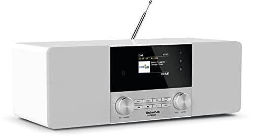TechniSat DIGITRADIO 4 C - Stereo Digital-Radio (DAB+, UKW, Farbdisplay, Bluetooth-Audiostreaming, Kopfhöreranschluss, AUX-Eingang, Radiowecker, OLED Display, 20 Watt RMS, Elac Lautsprecher) weiß