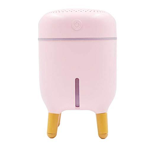 WJL Mini-luchtbevochtiger, USB, koude mistbevochtiger voor bureau, slaapkamer, huis, kantoor, plant auto power off, met 7 kleuren LED-verlichting, 8,1 oz roze