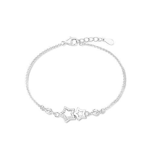 amor Armband für Damen 17+2 cm längenverstellbar 925 Sterne Sterling Silber rhodiniert Zirkonia weiß