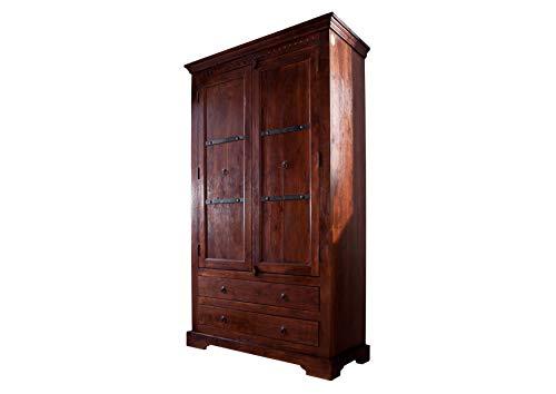 MASSIVMOEBEL24.DE Schrank Oxford aus Akazienholz Nougat lackiert, Holzschrank mit 3 Fächern und 2...