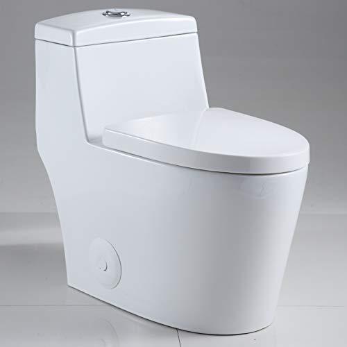 One Piece Toilet - Sarlai SL-D80 One Piece Toilet Comfort Height Dual Flush White Ceramic Bathroom One Piece Toilet with Soft Seat