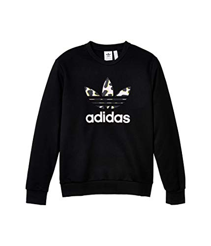 adidas Originals Kids Girl's Leopard Crew (Little Kids/Big Kids) Black/Multicolor/Clear Pink XL (16 Big Kids)