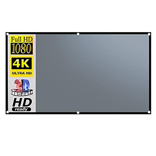 Pantalla de proyector 100 pulgadas, pantalla de proyector de películas 4K 16: 9 HD plegable, portátil, antiarrugas, proyección interior y exterior, pantalla proyector video de doble cara, 87 '× 49'
