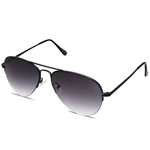 SOJOS Men's Women's Aviator Sunglasses, Classic Semi Metal Frame INSPIRATION SJ1106 with Black Frame/Gradient Grey Lens