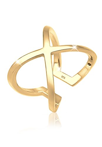 Elli Ring Damen Kreuz Symbol Geo in 925 Sterling Silber