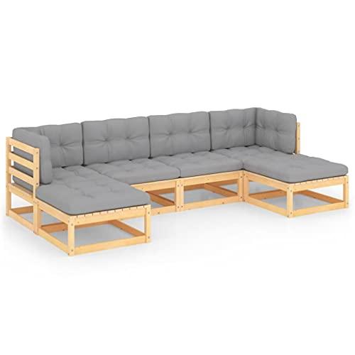 vidaXL Madera de Pino Maciza Muebles de Jardín 6 Piezas con Cojines Mobiliario Exterior Terraza Hogar Cocina Silla Mesa Asiento Suave