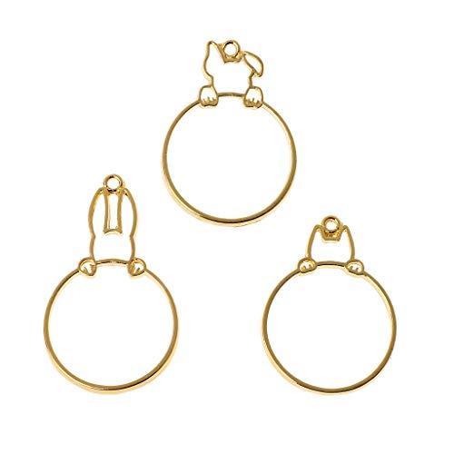 Boji Bisel para colgante, 3 piezas, diseño de conejito hidden Cat Dog Rabbit redondo, bisel de resina para la fabricación de joyas para manualidades, resina UV