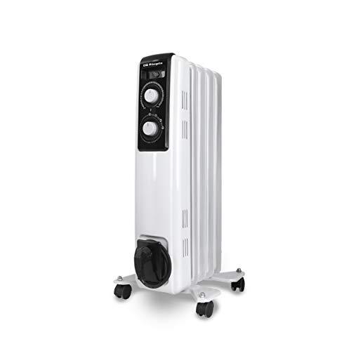 Orbegozo RF 1000 Radiador de aceite, 1000W de potencia, construcción modular de 5 elementos y diseño en color blanco, Negro