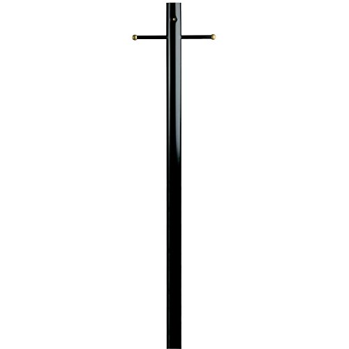 Westinghouse Lighting Lantern Post with Ground Convenience Outlet and Dusk to Dawn Sensor, Black Finish on Steel