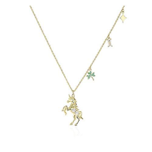 ZNXHNDSH HND Xingyue Einhorn-Riss-Halskette weibliche Gezeiten Nische Entwurf Claviclekette Temperament Schmuck Feiertags-Geschenk, mit erweiterter Kette (Color : Gold)
