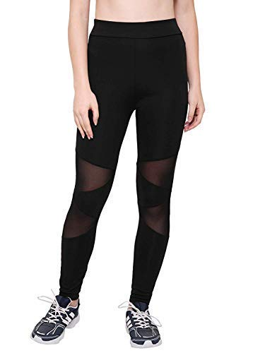 AREO Yoga Pants, Women's Power Flex Yoga Pants Tummy Control Workout Yoga Capris Pants Leggings V CUT, mesh Black, Free Size, best suited for waist 32-24 inch