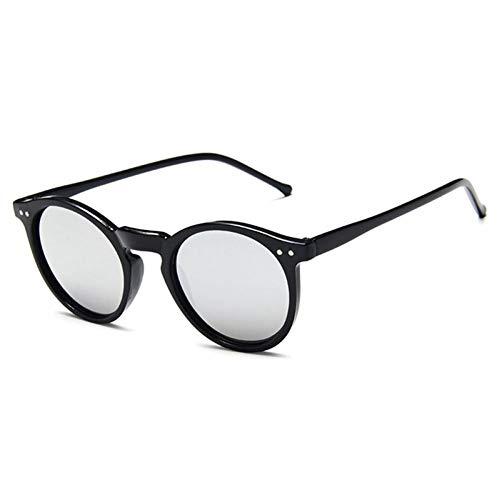 ZZOW Gafas De Sol Redondas Decorativas De Uñas Clásicas para Mujer, Diseñador De Marca, Lentes De Espejo Coloridos Retro, Gafas De Sol para Hombre